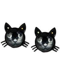 Betsey Johnson   Black Cat Stud Earrings   Lyst