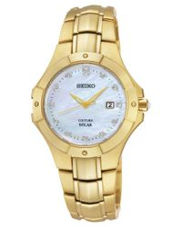 Seiko | Metallic Women's Solar Diamond Accent Gold-tone Stainless Steel Bracelet Watch 29mm Sut168 | Lyst