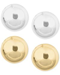 Nine West | Metallic Gold-tone And Silver-tone Stud Duo Earring Set | Lyst