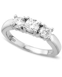 Macy's - Metallic 18k White Gold Certified Colorless Diamond Three Stone Ring (1 Ct. T.w.) - Lyst