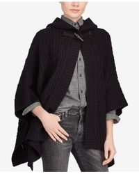 Polo Ralph Lauren - Black Aran-knit Hooded Poncho - Lyst