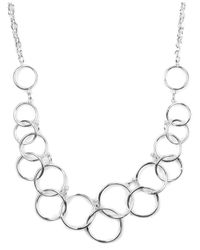 Nine West - Metallic Necklace, Silver-tone Circle Frontal Necklace - Lyst