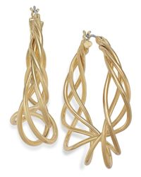 Charter Club | Metallic Gold-tone Spiral Hoop Earrings | Lyst