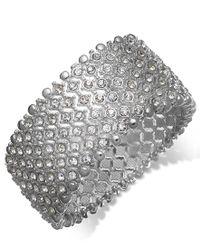 Charter Club   Metallic Silver-tone Clear Crystal Stretch Bracelet   Lyst