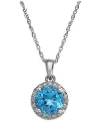 Macy's | Blue Topaz (1-1/2 Ct. T.w.) And Diamond Accent Pendant Necklace In 14k White Gold | Lyst