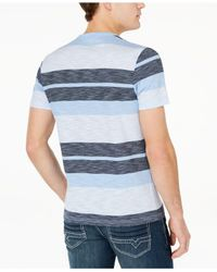 INC International Concepts - Blue Striped Henley T-shirt, Created For Macy's for Men - Lyst