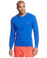 Polo Ralph Lauren | Blue Men's Tipped Thermal V-neck Shirt for Men | Lyst