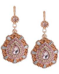 Betsey Johnson | Pink Faceted Bead Teardrop Earrings | Lyst