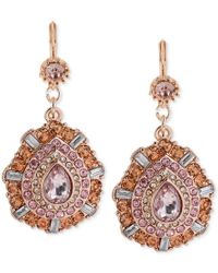 Betsey Johnson | Pink Faceted Bead Teardrop Earrings | Lyst