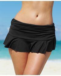 Lauren by Ralph Lauren Black Ruffle-hem Swim Skirt