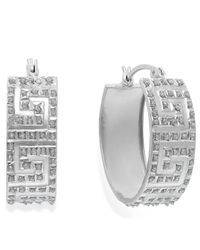 Macy's | Metallic Diamond Accent Greek Oval Hoop Earrings In Sterling Silver, 8mm | Lyst