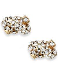 kate spade new york | Metallic Crystal Pave Knot Stud Earrings | Lyst