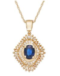 Macy's | Metallic Sapphire (9/10 Ct. T.w.) And Diamond (1/2 Ct. T.w.) Pendant Necklace In 14k Gold | Lyst
