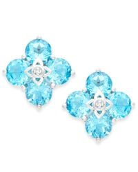 Macy's | Blue Topaz (4-3/4 Ct. T.w.) And Diamond Accent Clover Earrings In 14k White Gold | Lyst