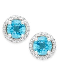 Macy's   Blue Topaz (1-3/4 Ct. T.w.) And Diamond Accent Halo Stud Earrings In 14k White Gold   Lyst