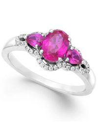 Macy's   Metallic Ruby (1-3/8 Ct. T.w.) And Diamond (1/8 Ct. T.w.) Three-stone Ring In 14k White Gold   Lyst
