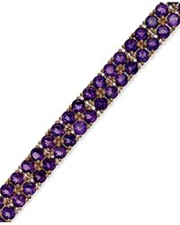 Macy's   Purple Amethyst Two-row Bracelet In 14k Rose Gold Over Sterling Silver (14-1/10 Ct. T.w.)   Lyst