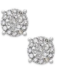 Macy's | Metallic Diamond Cluster Stud Earrings In Sterling Silver (1/4 Ct. T.w.) | Lyst
