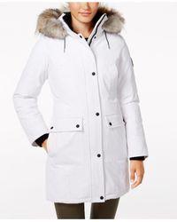 Calvin Klein | White Faux-fur-trim Water-resistant Parka | Lyst