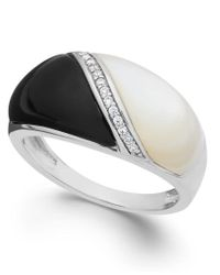 Macy's | Metallic Onyx (2-1/4 Ct. T.w.), Mother Of Pearl (2-1/5 Ct. T.w.) And Diamond Accent Ring In Sterling Silver | Lyst