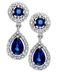 Macy's | Blue Sapphire (1-1/3 Ct. T.w.) And Diamond (3/8 Ct. T.w.) Drop Earrings In 14k White Gold | Lyst