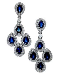 Macy's | Blue Sapphire (2 Ct. T.w.) And Diamond (3/4 Ct. T.w.) Drop Earrings In 14k White Gold | Lyst