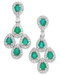 Macy's | Green Emerald (1-1/2 Ct. T.w.) And Diamond (3/4 Ct. T.w.) Drop Earrings In 14k White Gold | Lyst