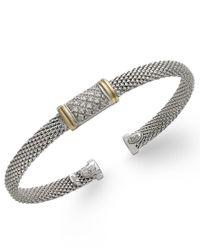 Macy's | Metallic Diamond Mesh Bangle Bracelet In 14k Gold And Sterling Silver (1/8 Ct. T.w.) | Lyst