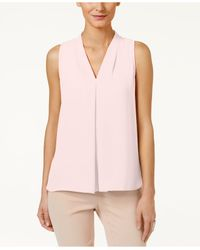 Vince Camuto | Pink Sleeveless Inverted-pleat Blouse | Lyst