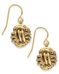 Lauren by Ralph Lauren | Metallic Gold-tone Monkey Fist Knot Drop Earrings | Lyst