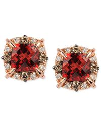 Le Vian | Metallic Petite Collection Garnet (1-3/8 Ct. T.w.) And Diamond (1/4 Ct. T.w.) Stud Earrings In 14k Rose Gold, Only At Macy's | Lyst