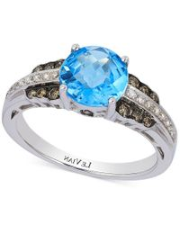 Le Vian   Metallic Petite Collection Blue Topaz (2-1/10 Ct. T.w.) And Diamond (1/4 Ct. T.w.) Ring In 14k White Gold   Lyst