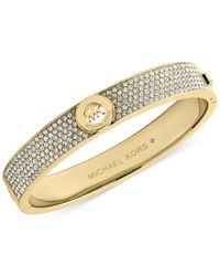Michael Kors - Metallic Crystal Pave Logo Bangle Bracelet - Lyst
