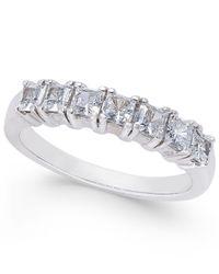 Macy's - Metallic Diamond Princess Seven Stone Ring (1 Ct. T.w.) In 14k White Gold - Lyst
