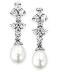 Arabella Metallic Cultured Freshwater Pearl (8mm) And Swarovski Zirconia (1-3/4 Ct. T.w.) Earrings In Sterling Silver