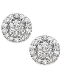 Macy's - Metallic White Sapphire Halo Stud Earrings In 14k White Gold (5/8 Ct. T.w.) - Lyst