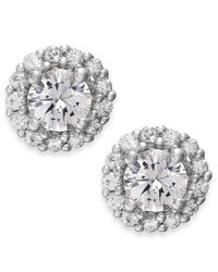 Macy's - Metallic White Sapphire Halo Stud Earrings In 14k White Gold (3/4 Ct. T.w.) - Lyst