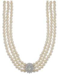 Arabella | Multicolor Cultured Freshwater Pearl (5mm) And Swarovski Zirconia Necklace In Sterling Silver | Lyst