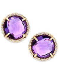 Macy's | Metallic Amethyst (3 Ct. T.w.) And Diamond Accent Stud Earrings In 14k Gold | Lyst