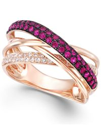 Effy Collection | Multicolor Ruby (1/2 Ct. T.w.) And Diamond (1/6 Ct. T.w.) Crossover Ring In 14k Rose Gold | Lyst