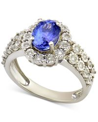 Macy's | Sapphire (1-1/10 Ct. T.w.) And Diamond (1/4 Ct. T.w.) Ring In 14k White Gold | Lyst