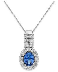 Macy's - Blue Tanzanite (1-1/5 Ct. T.w.) And Diamond (1/4 Ct. T.w.) Pendant Necklace In 14k White Gold - Lyst