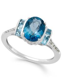 Macy's - Blue Topaz (2-1/5 Ct. T.w.) And Diamond Accent Ring In 14k White Gold - Lyst