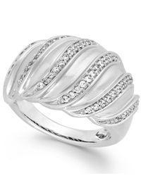 Macy's - Metallic Diamond Swirl Ring In Sterling Silver (1/4 Ct. T.w.) - Lyst