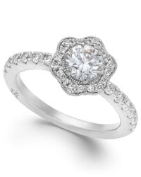 Marchesa - Fleur By Certified Diamond Flower Engagement Ring In 18k White Gold (1-1/4 Ct. T.w.) - Lyst