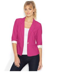 Kensie | Purple Three-quarter-sleeve Blazer | Lyst