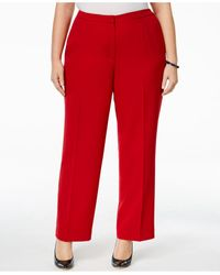 Kasper - Red Plus Size Straight-leg Crepe Pants - Lyst
