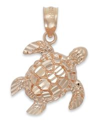 Macy's | Pink Diamond-cut Turtle Charm In 14k Rose Gold | Lyst