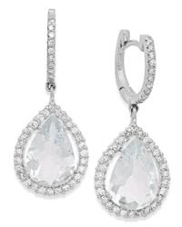 Macy's | Metallic Aquamarine (6 Ct. T.w.) And Diamond (3/4 Ct. T.w.) Earrings In 14k White Gold | Lyst