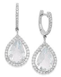 Macy's - Metallic Aquamarine (6 Ct. T.w.) And Diamond (3/4 Ct. T.w.) Earrings In 14k White Gold - Lyst